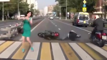 行车记录仪实拍:美女好看不能多看,骑车注意