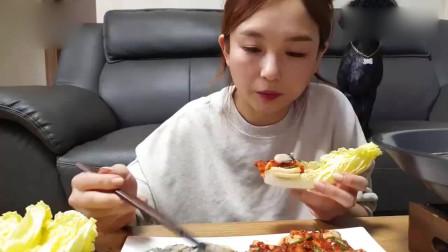 韩国吃播,美女这样吃也太香了吧,饿了