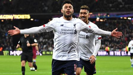 英超利物浦2-0西汉姆联,完成19支球队通杀,利物浦快速反击,萨拉赫精确助攻,张伯伦单骑闯关单刀破门