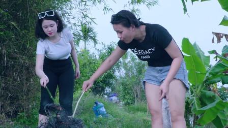 农村单身美女野外弄烧烤,黑漆漆像木碳一样的