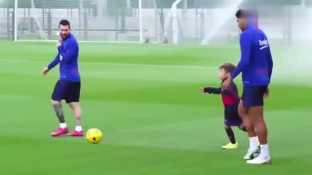 梅西儿子随队训练,足球天赋与生俱来