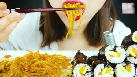 国外美女吃播:韩国料理紫菜包饭+意大利面