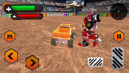 走走云游戏解说:怪物特技卡车,大脚车碰撞大乱斗,卡车被我顶翻,变成机器人反击