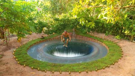 """牛人山林自建""""水帘洞"""",跳下水的瞬间,太惊艳了!"""