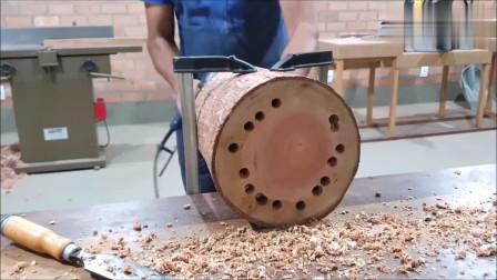 牛人发明:木头掏空芯材,制作一个简约储物罐,过程不难,有条件你可以试试
