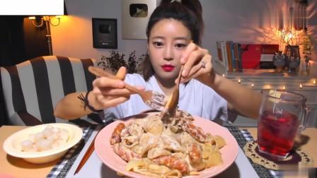吃播:韩国美女吃货试吃宽粉意大利面,配上维