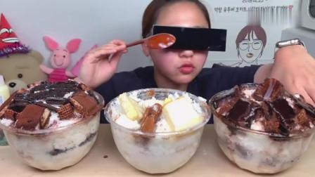 吃播:韩国吃货美女试吃三碗大份提拉米苏冰淇