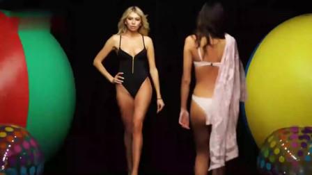 时装秀:高级泳装秀,美女红色比基尼,修身设
