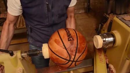 牛人制作:木板如何车加工一个木篮球?老师傅一出手,分分钟解开你的疑惑