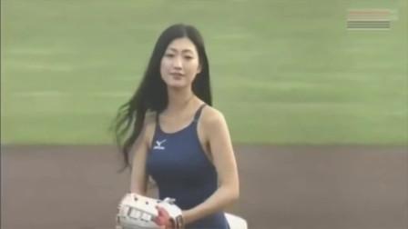 日本女星职棒开球,球员看到美女连球不会打了