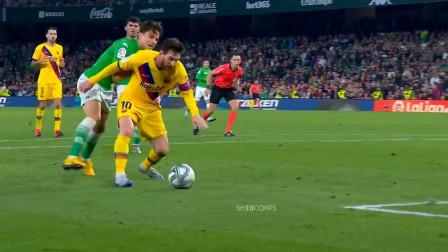西甲梅西对阵贝蒂斯个人精彩集锦,上演助攻帽子戏法,被狂拉球衣遭裁判无视!