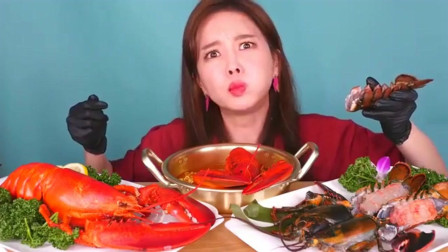 韩国大胃王美女一个吃龙虾大餐,刺身红烧样样