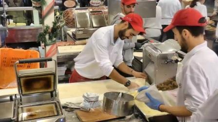 【外国小吃街拍】超大的火腿肠儿&希腊风烤肉