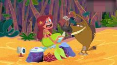搞笑动画:飞鲨小胡子和鲨鱼哥争夺美人鱼,鬣