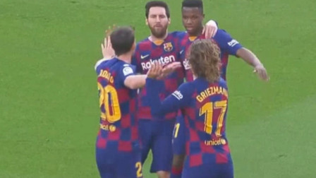 西甲 梅西助攻格列兹曼破门   门将三连 巴萨2-1赫塔菲 视频集锦