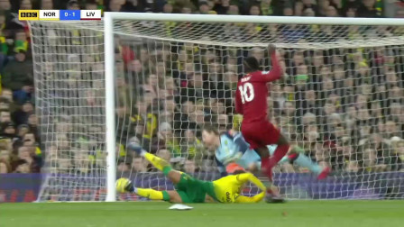 英超第26轮,诺维奇0:1利物浦,马内替补制胜球
