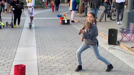 国外萝莉街头小提琴演奏速7《see you again》这是真