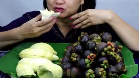 吃播:韩国美女吃货试吃水果之王榴莲配水果皇