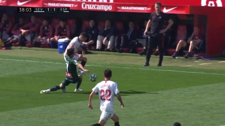 拼了!武磊不规则铲球动作铲翻对手领西甲第二张黄牌,自己也笑了!