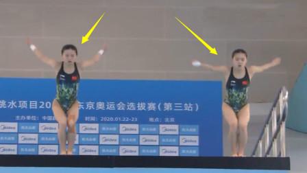 真正的零水花?中国跳水组合这一跳爆发,裁判