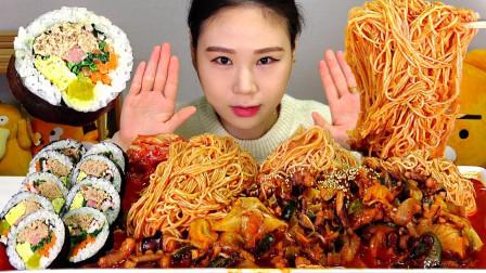 """韩国美女吃播:""""辣炒章鱼+素面+金枪鱼紫菜包饭"""