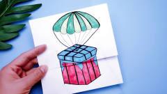 很有趣的空投箱手绘卡通画,打开里面物资太丰