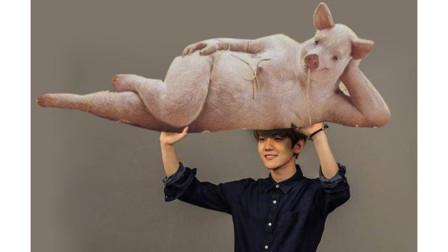 ps恶搞小伙估计这辈子也想不到自己能举起200斤的一只猪