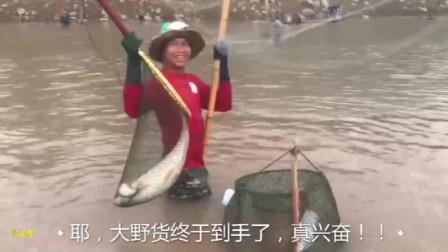 水中的渔网刚被提起,突然美女大声尖叫着,原