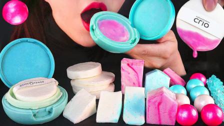 美女制作一桌奇葩的美食,粉饼和化妆棉竟能吃