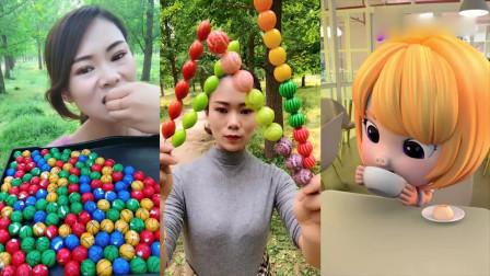 小姐姐直播吃:巧克力小篮球、泡泡小糖串,吃起来特别过瘾