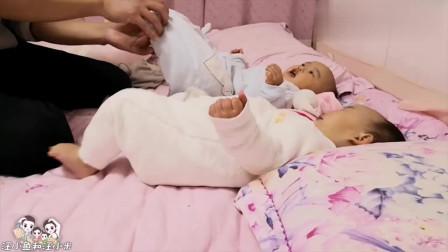 鱼米爸爸恶搞双胞胎萌娃,用胡子刮宝宝脚底板