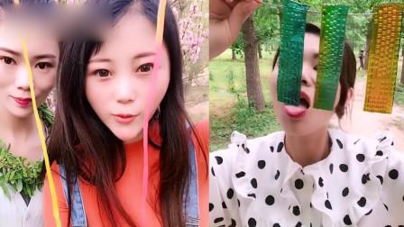 小美女试吃:彩色果冻、彩绳糖, 小姐姐吃的美