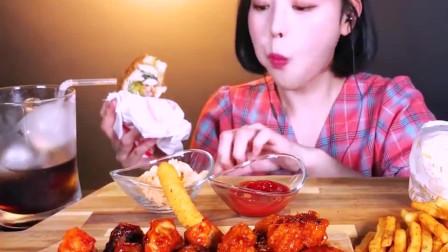 美女吃播:汉堡、炸鸡、薯条,香香脆脆的,吃