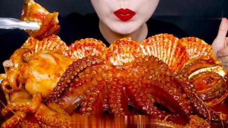 吃播:韩国美女吃货试吃香辣八爪鱼,配上大扇贝,吃得特别过瘾!