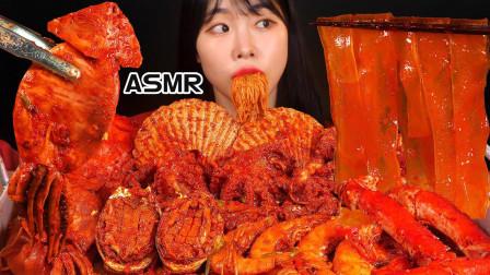 """韩国美女吃""""辣炖海鲜"""",有鲍鱼、章鱼、鱿鱼"""
