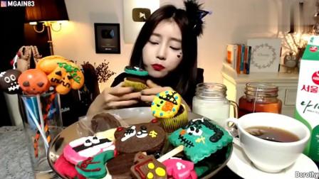 韩国大胃王美女今天吃万圣节大派对,马卡龙和