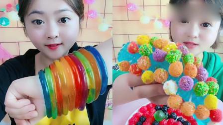 美女直播吃:美味的果冻、糖果,甜甜的味道,