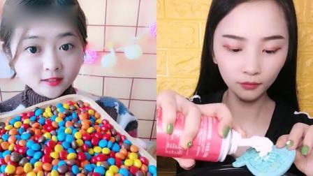 美女试吃:彩色糖果大集合,一口下去超过瘾,