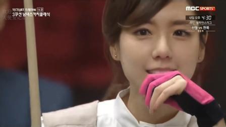 韩国美女打台球,有一种初恋的感觉