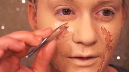100层粉底液涂在脸上会变成什么样?美女亲身体