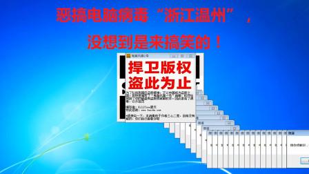 """恶搞电脑病毒""""浙江温州"""",没想到是来搞笑的"""