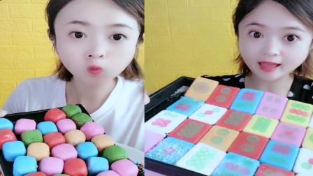 小美女吃播:彩色八次方巧克力,是我向往的生