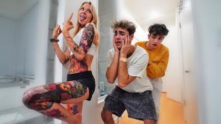 恶搞男友:女友在身上弄满纹身测试男友的反应