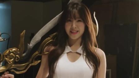韩国啦啦队美女安智玄代言游戏拍摄现场