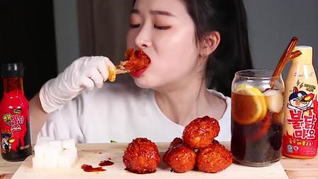 韩国美女吃播声控!挑战韩国特辣炸鸡腿,能吃