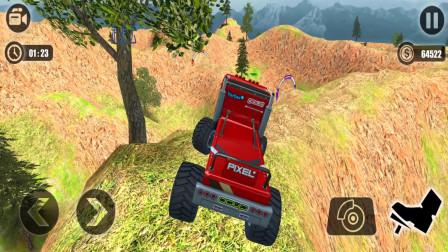 走走云游戏解说:卡车越野大冒险,驾驶大卡车下山,沿着山崖边轻松跑到山脚