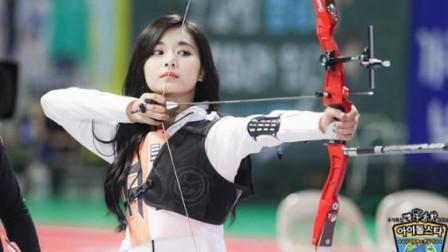中国美女周子瑜,逆天神颜经典射箭,引全场高