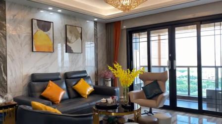 你们要的装修细节来了,面积130平,三房二厅双阳台, 背景墙用爵士白大理石!