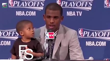 NBA巨星和萌娃的搞笑视频集锦,小保罗怒视格里芬太可爱了