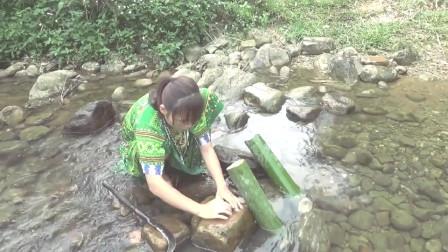 河中发现一大群诱人野味,美女捡不停,放竹筒
